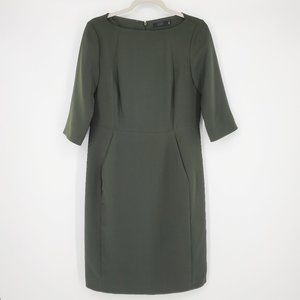 COS Structured Sheath Dress with Pockets Green